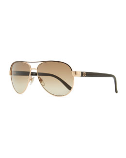 Gucci Sunglasses Metal Aviator Sunglasses with Brown Brow