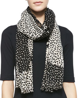 Tory Burch Dotted Double-Face Scarf, Black/White