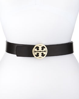 Tory Burch Reversible Classic Logo Leather Belt, Black/Luggage