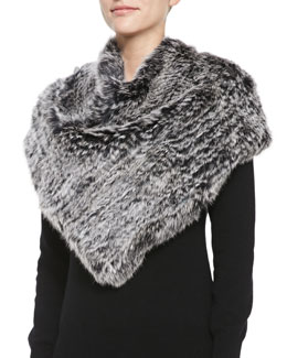 Jocelyn Triangular Rabbit Fur Poncho, Black Snow Top