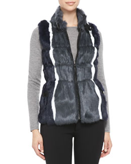 Jocelyn Reversible Striped-Rabbit-Fur Vest