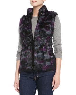 Jocelyn Reversible Camo-Rabbit-Fur Vest