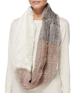 Jocelyn Colorblock Rabbit Fur Infinity Scarf, Cement/Ivory