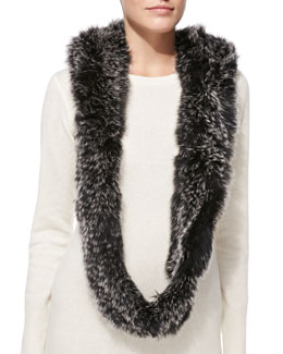 Jocelyn Fox Fur Hooded Infinity Scarf
