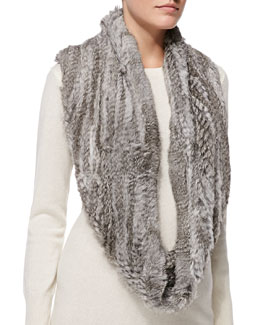 Jocelyn Rabbit Fur Infinity Scarf, Natural Gray