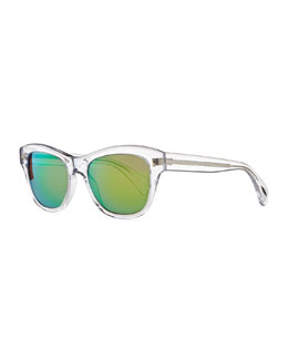 Oliver Peoples Sofee 53mm Polarized Sunglasses, Clear/Mirror Green