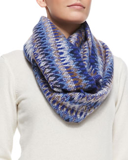 Missoni Zigzag Space-Dyed Knit Infinity Scarf, Blue