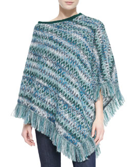 Missoni Zigzag Knit Poncho with Fringe, Emerald