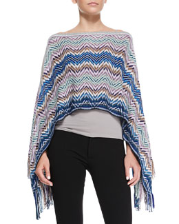 Missoni Zigzag Knit Poncho with Fringe, Blue/Multi