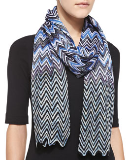Missoni Zigzag Knit Scarf, Blue