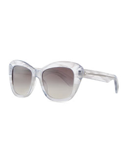 Oliver Peoples Marbled Square Emmy Sunglasses, Clear