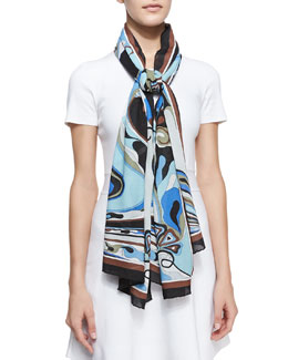Emilio Pucci Orchidee Show Scarf, Light Blue