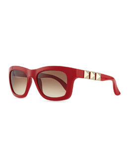 Valentino Rockstud Iconic Square Plastic Sunglasses, Red