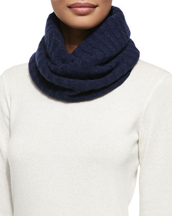 Brora Cashmere Fine Cable Snood, French Navy