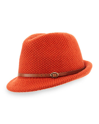 Inverni Knit Fedora Hat with Leather Band, Orange