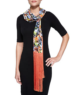 Erdem Jardin Scarf with Long Silk Fringe, Multi/Coral