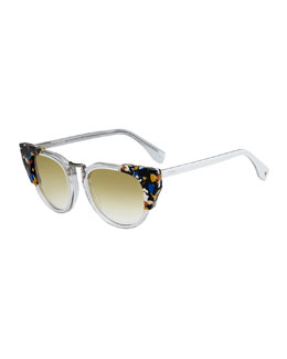 Fendi Galassia Marble Block Sunglasses, Blue/Brown/Clear