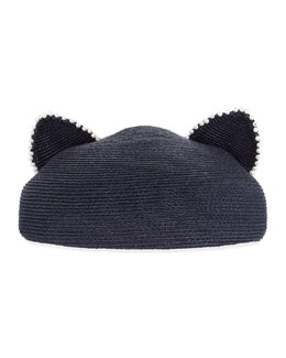 Caterina Pearly Trim Cat-Ear Hat, Navy