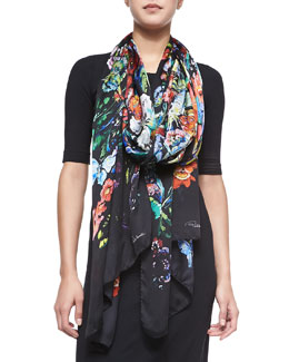 Roberto Cavalli Floral/Butterfly Printed Lightweight Silk Scarf