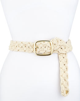 Tory Burch Macrame Belt with Golden Hardware