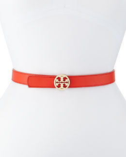 Tory Burch Reversible Saffiano Leather Logo Belt, Coral/White