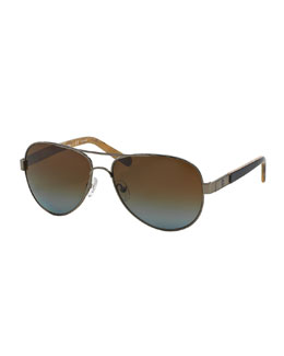 Tory Burch Polarized Metal Aviator Sunglasses with Acetate Arms, Gunmetal