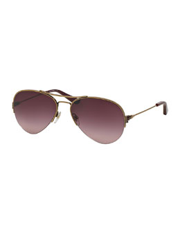 Tory Burch Metal Aviator Sunglasses, Light Gold/Plum