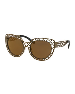 Tory Burch Metal Lattice Sunglasses, Brass
