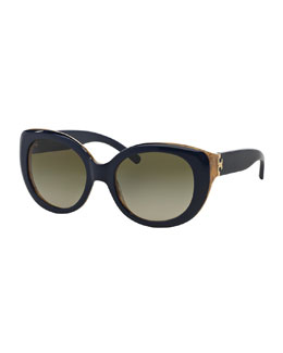 Tory Burch Two-Tone Plastic Cat-Eye Sunglasses, Navy