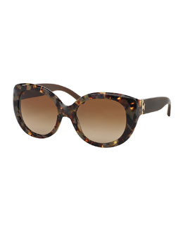 Tory Burch Plastic Cat-Eye Sunglasses, Porcini Tortoise