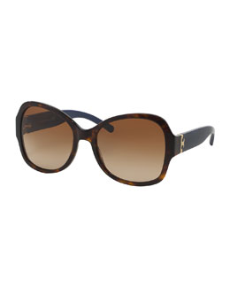 Tory Burch Plastic Butterfly Sunglasses, Havana/Navy