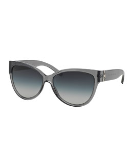 Tory Burch Transparent Plastic Cat-Eye Sunglasses, Milky Smoke