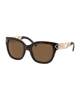 Tory Burch Havana & Golden Chevron Sunglasses