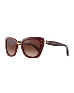 Marc Jacobs Cat-Eye Stud-Temple Sunglasses, Burgundy