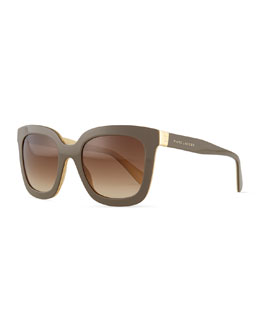 Marc Jacobs Plastic Square Sunglasses, Brown/Cream