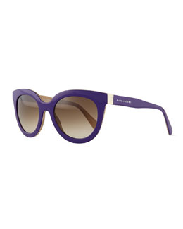 Marc Jacobs Rounded Cat-Eye Sunglasses, Purple/Brown