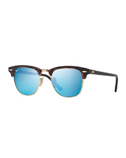 Ray-Ban Clubmaster Sunglasses with Blue Mirror Lens, Havana