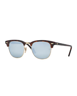 Ray-Ban Clubmaster Sunglasses with Silver Mirror Lens, Havana
