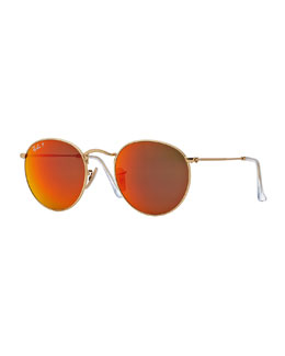 Ray-Ban Polarized Round Metal-Frame Sunglasses with Orange Mirror Lens