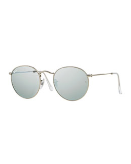 Ray-Ban Round Metal-Frame Sunglasses with Silver Mirror Lens