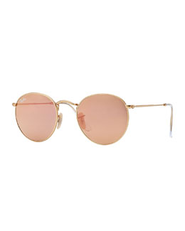 Ray-Ban Round Metal-Frame Sunglasses with Pink Lens