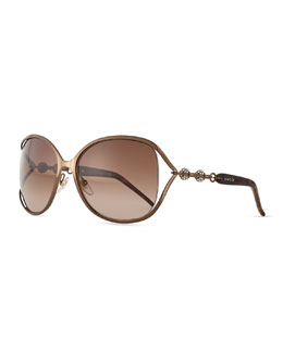 Gucci Large Butterfly Sunglasses with Logo Arm, Bronze