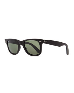 Ray-Ban Classic Wayfarer Sunglasses, Black/Green Lens