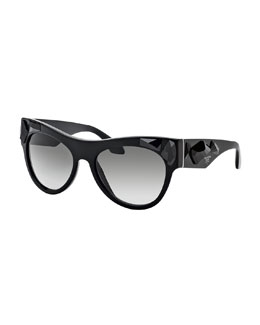 Prada Jeweled Cat-Eye Lenses, Black/Black