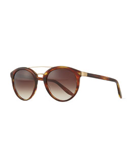 Barton Perreira Dalziel Round Aviator Sunglasses with Metal Bar, Banyan Havana