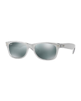 Ray-Ban New Wayfarer Mirrored Sunglasses, Silver