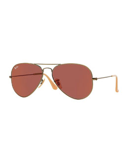 Ray-Ban Mirrored Aviator Sunglasses, Red