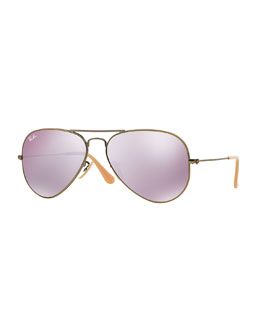 Ray-Ban Mirrored Aviator Sunglasses, Lilac