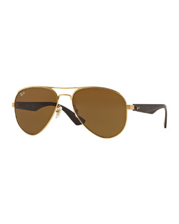 Ray-Ban Aviator Sunglasses, Dark Brown