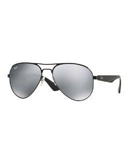 Ray-Ban Aviator Sunglasses with Mirror Lens, Black
